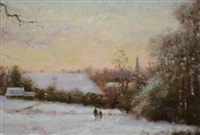 winter sunset landscape with figures by david garcia