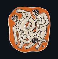 les acrobates sur fond orange by fernand léger