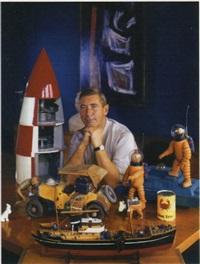 portrait du dessinateur père de tintin, georges rémi dit hergé, en compagnie de maquettes et figurines de ses héros by robert kayaert