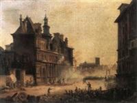 les barricades de 1830 sur la place de l'hotel de ville by moya