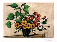 bouquet de tournesols et coquelicots by bernard buffet