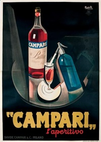 campari. l'appertivo (fond noir) (on 2 joined sheets) by marcello nizzoli