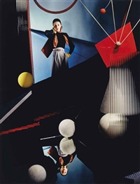 fashion: model in surreal location with balls by horst p. horst