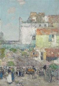 marché st. pierre, montmartre by childe hassam