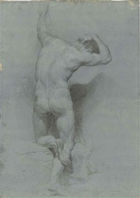 academic study of a male nude, half-kneeling, seen from behind by pompeo girolamo batoni