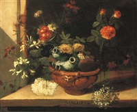a ceramic vase with roses, hortensias and other flowers in a clay pot on a stone ledge (one of a series of months) by niccolino van houbraken
