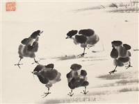 white cabbage and chicks by qi baishi