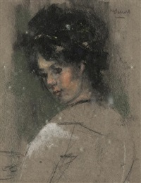 girl's head (study) by james watterston herald