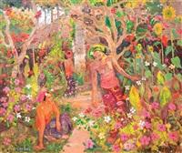 women in the garden by adrien jean le mayeur de merprés