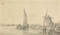 fishermen bringing in their catch near a windmill by jan josefsz van goyen