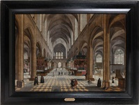 intérieur de la cathédrale d'anvers animé d'une messe, de soeurs, de personnages nobles, de mendiants et d'autels by peeter neeffs the younger and frans francken the younger