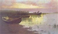 abendstimmung über einer seelandschaft by ferdinand kruis