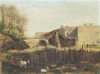 goats by a yard by stanislas lépine
