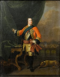 portrait of william augustus, duke of cumberland, in military uniform, standing in a loggia before a military encampment by david morier