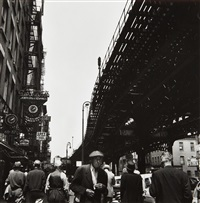 the el at the bowery, new york by berenice abbott