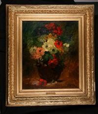 bouquet d'anémones dans un vase by georges jeannin