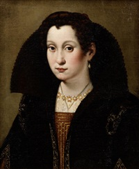 portrait of a lady, half-length, in black and gold costume by scipione pulzone