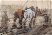 twee werkpaarden voor een bouwstelling by george hendrik breitner