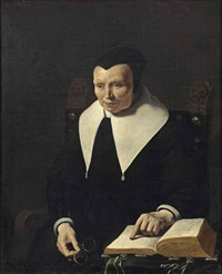portrait of an old lady, half-length, seated in a chair holding her glasses and pointing at a book on a table by karel dujardin