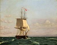the brig møen (after c. w. eckersberg) by harald martin hansen holm
