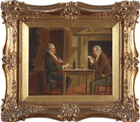 two gentlemen in an interior (+ another; pair) by alexander austen