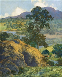 new hampshire hills (new hampshire landscape) by maxfield parrish