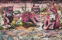 crafty crimson cats (original artwork from the book, animalia) by graeme base