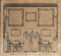vue du décor d'un mur de cabinet by gilles-marie oppenort