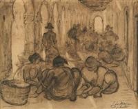 scène de marché à djibouti by adrien jean le mayeur de merprés