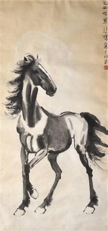 骏马图 a standing horse by xu beihong