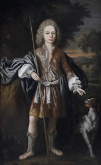 portrait of a young man as a shepherd, traditionally identified as john, master of elphinstone, standing with his dog before a landscape by william aikman