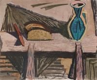 brot (stilleben mit blauer vase, brot und messer) by joachim heuer