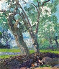 trees in a landscape by hermenegildo anglada camarasa