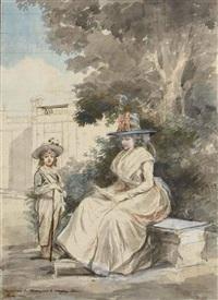 le dauphin et madame elisabeth dans un parc by antoine louis françois sergent-marceau