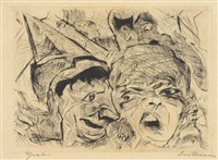 theater, pl. 8 (from gesichter) by max beckmann