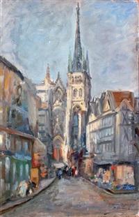 rouen, la vieille ville et la flèche de la cathédrale by paul denarie