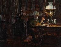 the danish painter harald foss plays guitar in his drawing room by julius paulsen