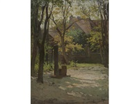 sunlit courtyard by paul cornoyer