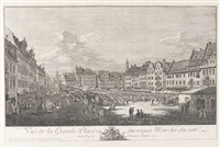 der altmarkt in dresden (vue de la grande place du vieux marché, du cote de la rue du chateau royal) by bernardo bellotto