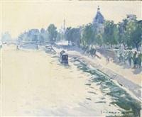 la seine et l'institut du pont du carrousel le matin by paul jean anderbouhr