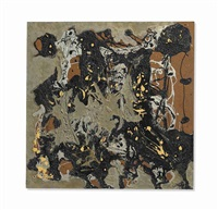silver & black square i by jackson pollock