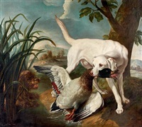 chiens et canard by jean-baptiste oudry