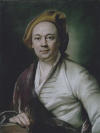 presumed portrait of louis de silvestre holding an artist's chalk by joseph vivien