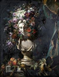 buste d'astrée couronné de fleurs by simon saint-jean