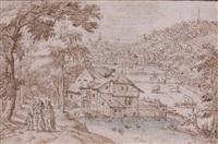paysage animé avec une ferme au premier plan by tobias verhaecht