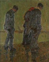 trois marins le long des quais by kurt peiser