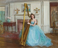 woman in blue with a harp by marguerite stuber pearson