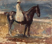 the artist's wife on horseback (study) by herman albert gude vedel