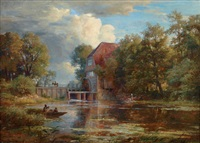 at the wohldorf water mill by adolf friedrich vollmer