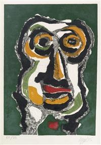personnage (rouge) * téte (vert) (2 works) by karel appel